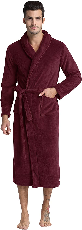 Men's Fleece Bathrobe Max 73% OFF Long Plush Large discharge sale Shawl Robe Collar