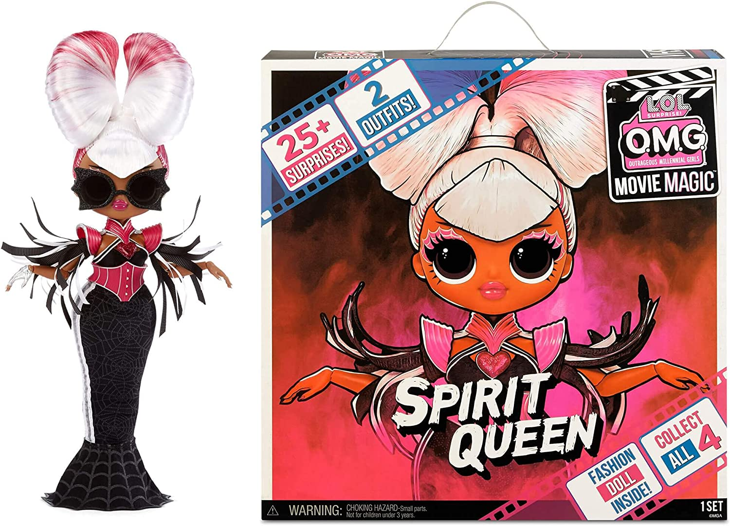 LOL Surprise OMG Movie Magic Spirit Queen Fashion Doll with 25 Surprises Including 2 Fashion Outfits, 3D Glasses, Movie Accessories and Reusable Playset – Great Gift for Girls Ages 4+