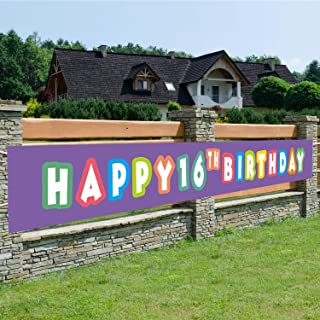 Purple Happy 16th Birthday Banner, 16th Birthday Party Sign, 16 Bday Party Supplies Decorations