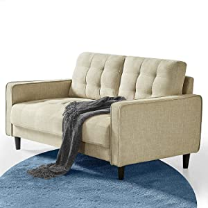Benton Loveseat Sofa/Grid Tufted Cushions/Easy, Tool-Free Assembly, Beige