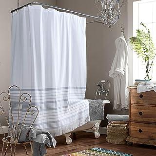 SDLIVING Doris Grey Yarn Dyed Stripe Polyester Tassel Shower Curtain,Waterproof Handmade Trim Shower Curtain for Bathroom,...