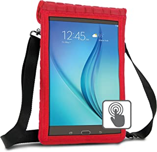 USA GEAR 10 inch Tablet Case Cover Compatible with Samsung Galaxy Tab A 10.1 and 10.5, Galaxy Tab S5e 10.5, Lenovo Tab4 10, More 10 inch Tablets - Built-in Screen Protector & Carry Strap (Red)