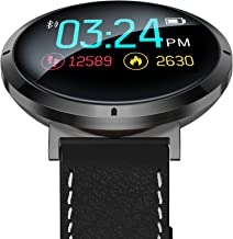 Waterproof Smartwatch + Heart Rate Blood Pressure Oxygen Level Touch Screen Monitor, Bluetooth Fitness Tracker for Fitness Sleep Quality, Best for Couple Women Men Female +Elegant Leather Belt (Black)