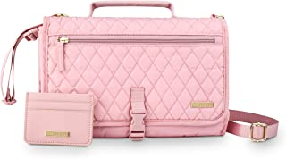 AMILLIARDI Stylish Diaper Changing Pad Portable and Credit Card Holder, Changing Mat, Foldable, Removable Pad for Baby, Infant, Newborn, Travel, Hook-on Shoulder Strap, 3 Zipped Pockets. (Light Pink)