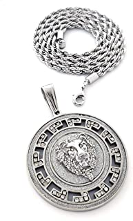 Medallion Gold Lion Pendant Stainless Steel Necklace with 30