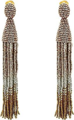 Long Ombre Beaded Tassel C Earrings