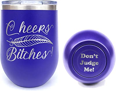Insulated Wine Tumbler, Stemless Wine Tumbler, Laser Engraved, Funny, Cheers Bitches, Insulated, with Lid, Stainless Steel (Purple)