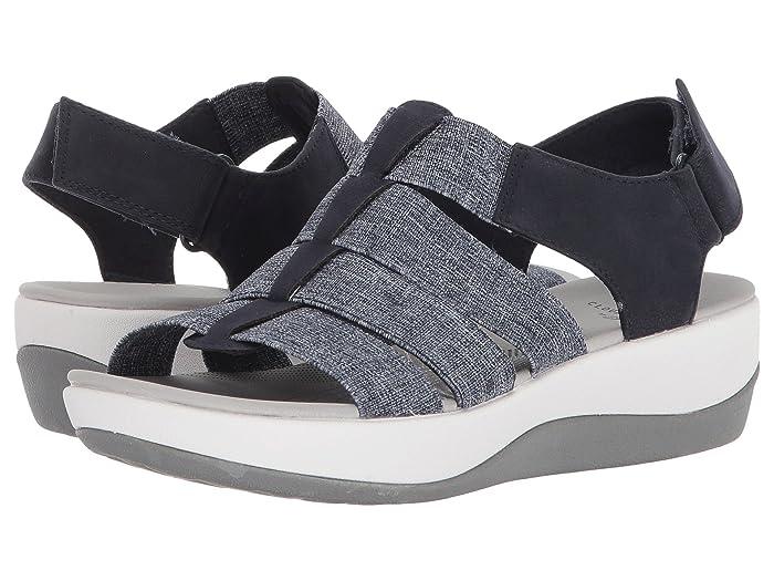 Clarks  Arla Shaylie (Navy/White Heathered Elastic) Womens Sandals