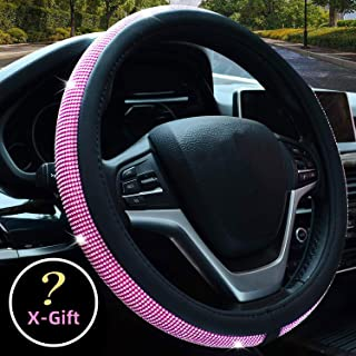Valleycomfy Diamond Crystal Steering Wheel Cover for Women Girls- Bling Bling Rhinestones Steering Wheel Cover with Universal Fit 15 Inch(Pink White Diamond)