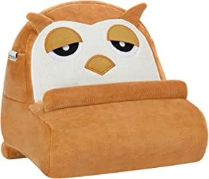 MoKo Table Pillow Holder for Kids, Owl Shaped Soft Pillow Cushion for Book Rest, Bed Tablet Pillow for Reading, E-Readers, Compatible with iPad 10.9/10.2,iPad Air 3/ Pro 11,Galaxy Tab, Brown & Beige
