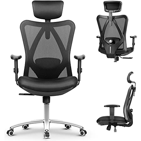 mfavour Office Chair Ergonomic Office Chair with with Adjustable Arms and Back Support, Breathable Mesh Design and Padded Seat Cushion, Heavy Duty Office Chair with Load Capacity 150kg