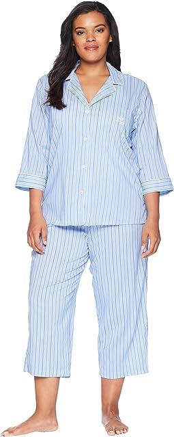 Plus Size Classic Woven Capri PJ