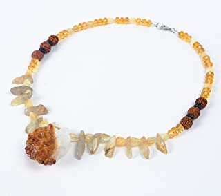 Citrine Druze Point, Golden Rutilated Quartz, Rudraksha Prayer Bead Shaman Bling Necklace (001506)