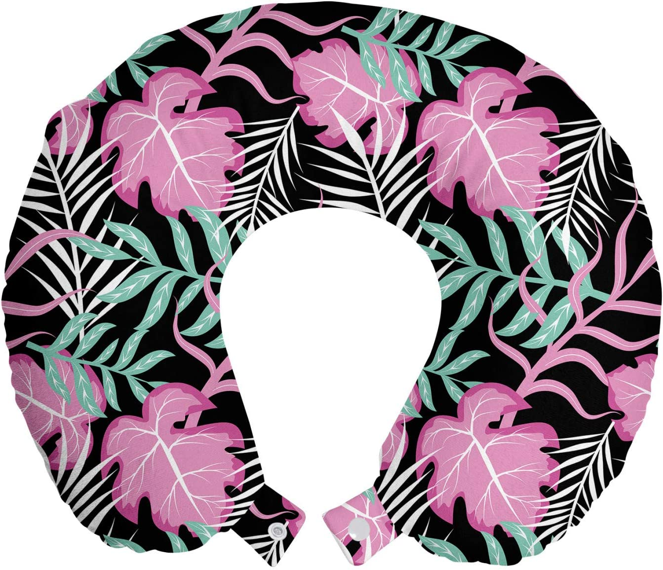 Ambesonne Tropical Travel Pillow Neck Cheap super special price Pastel Foliag Exotic A surprise price is realized Rest