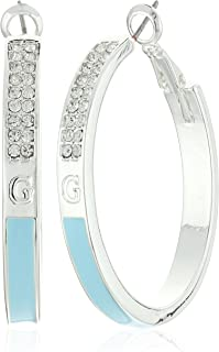 Guess Enamel Silver Hoop Earrings