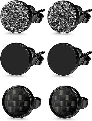 Oidea, set di 3 paia di orecchini a cerchio da uomo e da donna, in acciaio inox, colore nero, stile punk rock, vintage, rotondi, diametro: 6 mm, 8 mm, 10 mm