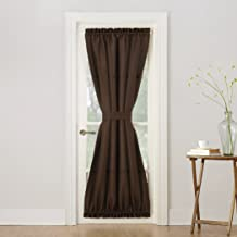 "No. 918 Montego Casual Textured Door Curtain Panel, 48"" x 72"", Chocolate Brown"