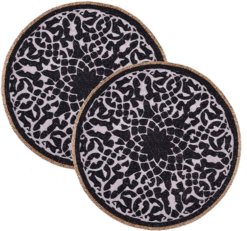 Decozen Set Of 2 Pieces Embroidered Beaded Placemats Round Placemats With Satin Back Luxurious Black And Gold Glass Beading Great For Dining Table Coffee Table End Table 15 X 15 Inches