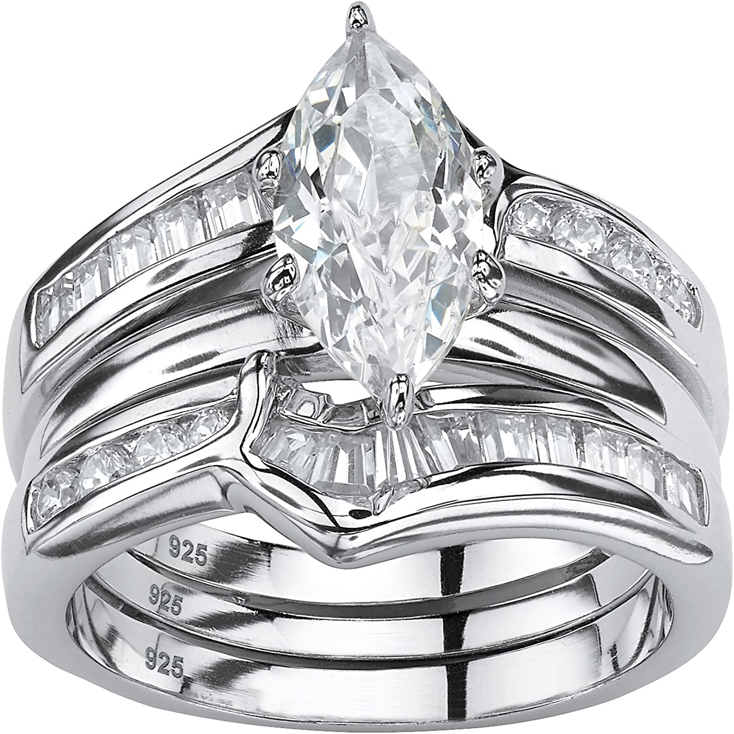 Tulsa Mall Free shipping / New Sterling Silver Marquise Cut and Cubic 2 Piece Baguette Zirconia