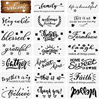 22Pcs Words Stencils for Painting on Wood Reusable Inspirational Quote Stencils DIY Welcome Plastic Stencils for Front Doo...