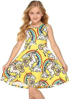 Balasha Girl Print Dresses Sleeveless Rainbow Unicorn Mermaid Pattern Swing Twirly Dress 3-10 Years