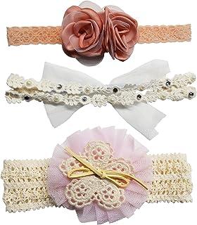 (kiejun) ベビー ヘアバンド 髪飾り ヘアアクセサリー 3点セット フォーマル リボン セレモニー 赤ちゃん お宮参り お祝い 結婚式 (タイプA)