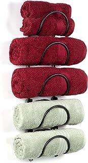 Wallniture Boto Wrought Iron Metal Towel Rack for Bathroom Wall Decor, Curved Finish Bathroom Organizer Set of 5, Black