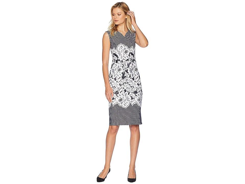 eci Sleeveless Puff Printed Scuba Sheath Dress (Black/Ivory) Women
