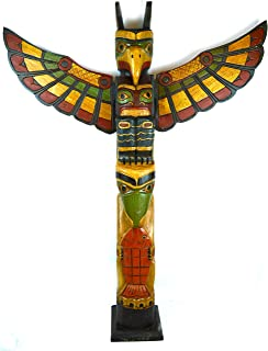 TALL 3 FOOT Tall Northwest Coast Style Wooden Eagle with Fish Totem Pole