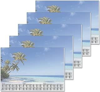 SIGEL HO470 Paper Desk Pad, with 3-Year Calendar, 59.5 x 41 cm, Design Beach, 80gsm, 30 Sheets, 5 pcs.