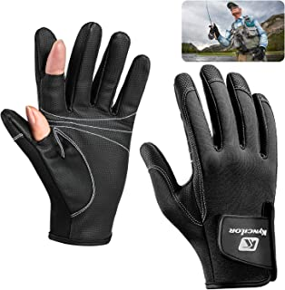 Qkurt Stretch Neoprene Fishing Gloves, 2 Cut Fingers Design for Men and Women Fly Fishing Ice Fishing Photography Hiking Running and Other Outdoor Activities