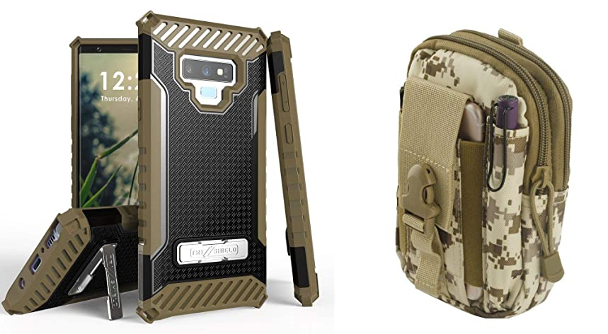 Beyond Cell TriShield Series Compatible with Samsung Galaxy Note 9 with Military Grade Shockproof Case (Black/Brown), Travel Pouch (Desert Camo) and Atom Cloth