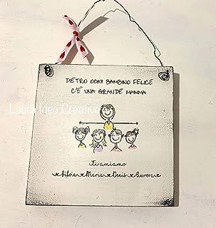 Targa personalizzata in legno per la mamma - disegno cartoon - idea regalo personalizzato festa della mamma regali persona...