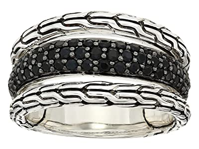 John Hardy Classic Chain Ring with Black Sapphire and Black Spinel (Silver) Ring