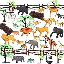 OOTSR 44 Piezas de Animales de la Jungla, Juguetes de plástico Animales de Safari para niños/Favor de Fiesta/Bolsas de Regalos, Incluir Animales Anchos (12 Tipos), cercos, árboles, Rocas