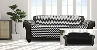 Quick Fit Fifi Chevron Reversible Furniture Protector Slipcover, SOFA, Black