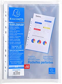 Exacompta - Réf. 5250E - Sachet de 50 pochettes perforées polypropylène lisse 6/100e - perforations universelles 11 trous...