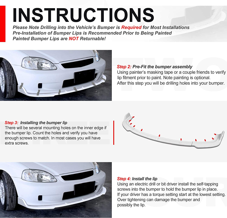 Body Kits 3Pcs Carbon Fiber Look Front Bumper Lip Spoiler Wing ...