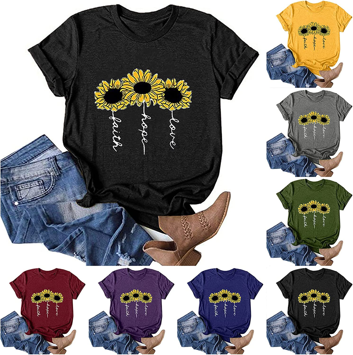 MASZONE Women's Summer Tops Crewneck Loose Fit Top Short Sleeve T-Shirts for Women Casual Funny Sunflower Print Tunic