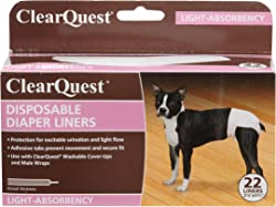 ClearQuest Disposable Dog Diaper Liners, 22-Pack, Absorbent Pads, Extra Protection for Cover-Ups and Male Wraps