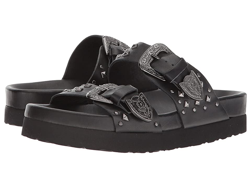 The Kooples Leather Sandal with Studs (Black) Women