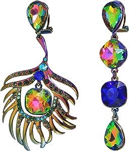 Betsey Johnson - Oil Slick Peacock Non-Matching Earrings