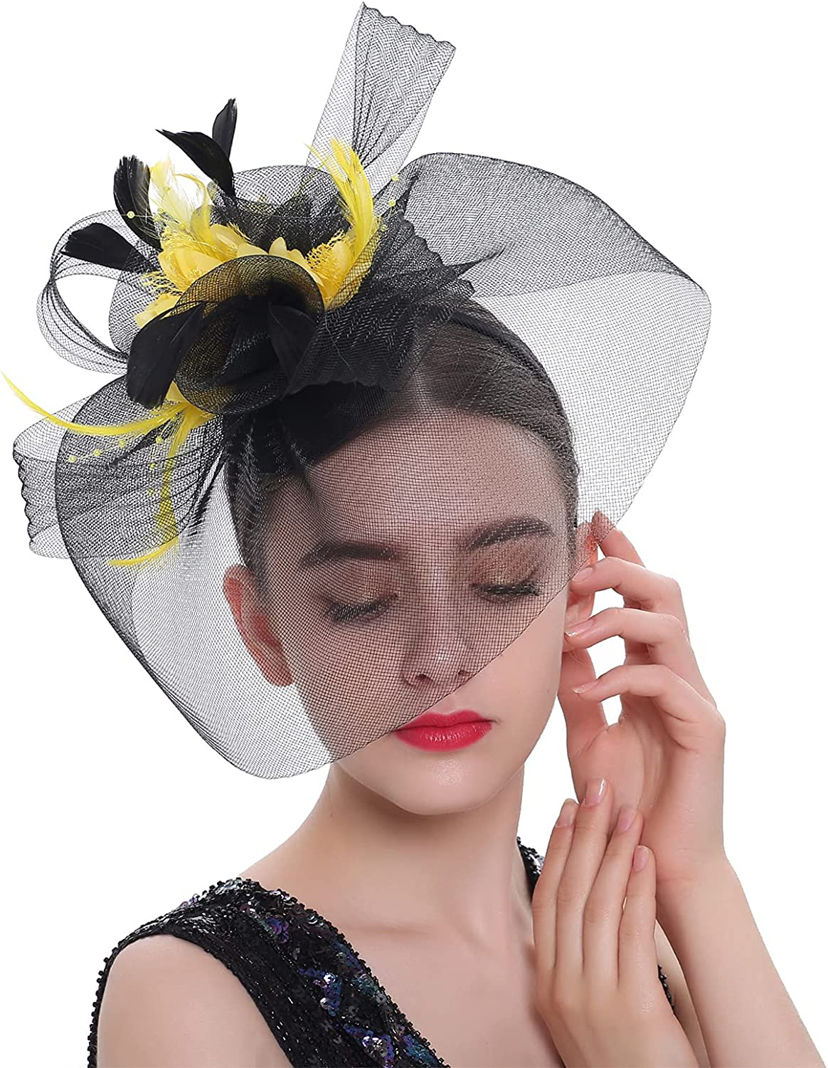 Women's Fascinator Hats with Lace Gloves Set Mesh Party Wedding Decor