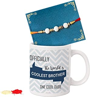 TIED RIBBONS Rakhi for Brother with Gift - Festival Rakshabandhan Gifts for Brothers Rakhi Coffee Mug with Wishes Card