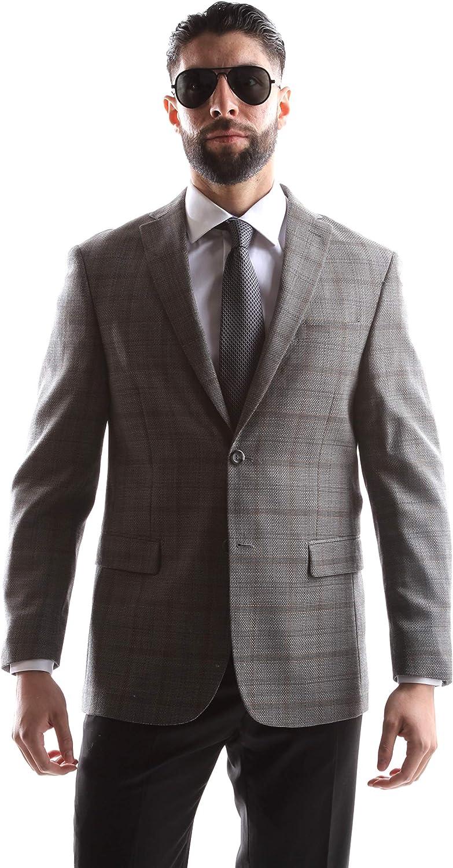 Prontomoda Men's 2 Button Luxury 100% Lamp Wool Gray Sport Coat Size Long 40