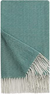 PiccoCasa Decorative Throw Blanket with Fringes in Geometric Pattern,Farmhouse Outdoor Acrylic Throws for Sofa, Chair, Bed, Everyday Use, 47x79 Inches Green