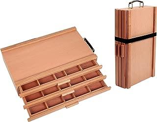 Falling in Art 3-Drawer Portable Wood Artist Pastels and Pencils Storage Organizer Box