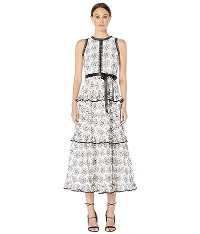 ML Monique Lhuillier Lace Ruffle Tiered Dress (White Jet) Women