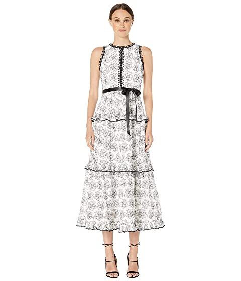 ML Monique Lhuillier Lace Ruffle Tiered Dress