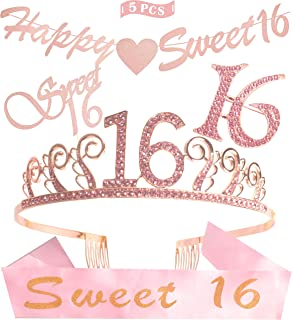 Sweet 16th Girl Birthday Crystal Tiara/Crown and Glitter Sixteen Sash Set, Happy Sweet 16 Banner, Sweet 16 Cake Topper, 16 Rhinestone Brooch, 16th Birthday Party Decoration Supplies Gift (Pink)